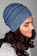 Модная вязаная женская шапка из полушерстяной пряжи | индиго