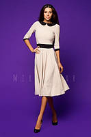 Платье бежевое с клешеной юбкой в ретро стиле с воротником
