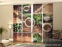 Панельная штора Зеленый кофе комплект 4 шт