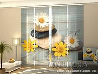 Панельная штора Ромашки и камни комплект 4 шт