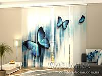 Панельная штора Синие бабочки комплект 4 шт
