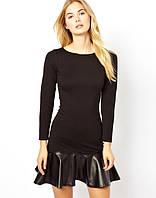 Платье черное с кожанной юбкой солнце и яркой молнией