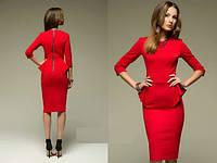 Платье трикотажное красное с баской и яркой молнией