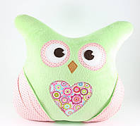 Детская плюшевая подушка с кармашками «Сова» (Салатовый), Sunny Bunny