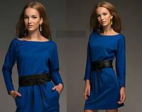 Платье трикотажное с юбкой тюльпан синее