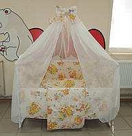 Детское постельное белье бежевое Мишка пчелки на луне Gold 9 в 1