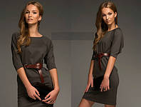 Платье коричневое трикотажное свободное в груди
