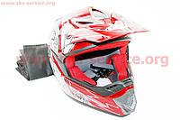 Шлем кроссовый HF-117 M-красный