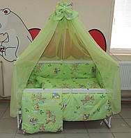 Детское постельное белье салатовое Бэмби Bonna 9 в 1 + ДЕРЖАТЕЛЬ ДЛЯ БАЛДАХИНА В ПОДАРОК!