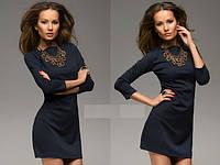 Платье из французского трикотажа темно-синее