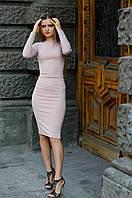 Трикотажное платье розовое