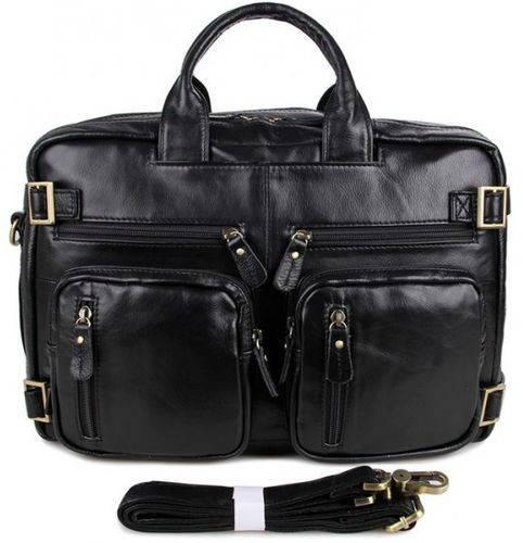 Комфортный мужской кожаный портфель S.J.D. 7026A черный