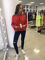 Куртка легкая короткая стеганная красная