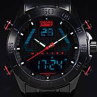 Мужские наручные часы SHARK ARMY Men's Dual Time Unique Red LED Steel Waterproof Military Sport Watch