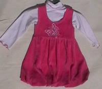 Сарафан для девочки розовый с белым гольфом, рост 86-92