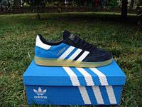 Кроссовки Adidas Spezial (нат.замша) черный носок, голубая пятка, белые полоски на прозрачной подошве