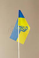 Флажок Украины 10*20 см.,герб большой по центру, искуственный шелк