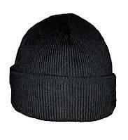 Теплая  вязаная шапка черная с подкладкой флис (шерсть/акрил)