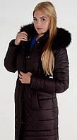 Теплое зимнее пальто с мехом Лорена, р 48-58