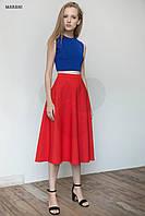 Красная юбка клеш миди длины TWIST