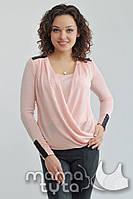 Блуза с вставками из ЭКО-кожи Нежно-Розовый. ТМ МамаТута