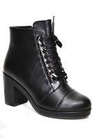 Зимние женские ботинки из натуральной кожи на устойчивом каблуке.