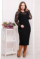 Красивое Черное Однотонное Платье с Элементами Гипюра р. 54-60