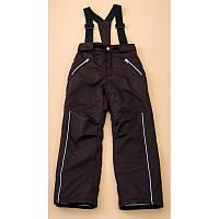 Детские зимние термо брюки (штаны) на подтяжках для мальчика коричневые