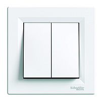 Выключатель двухклавишный проходной Schneider Electric Asfora, белый