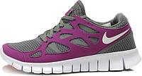 Женские кроссовки Nike Free Run Plus 2 (найк фри ран) серые