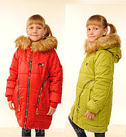 Яркая теплая  зимняя куртка  для девочки