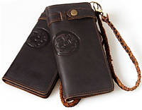 Прекрасное мужское кожаное портмоне ручной работы Tiding t33775 темно-коричневый