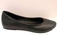 Балетки женские кожаные черные Uk0307