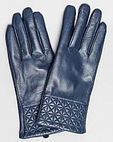Кожаные женские перчатки   С узором sk