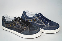 Стильные подростковые джинсовые кроссовки-мокасины с белой подошвой на шнуровке потертые 36-41р.