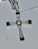 Крест мужской серебряный с накладками золота