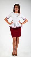 Белая блуза-вышиванка из натуральной ткани, фото 1