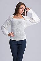 Оригинальный и многофункциональный вязаный свитер-шарф   молочный