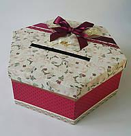 Большая шестиугольная подарочная коробка ручной работы свадебная с бордовыми вставками кружевом и бантом