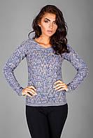 Ажурный пуловер из натуральной хлопковой пряжи | синий