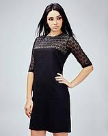 Черное платье со вставками гипюра
