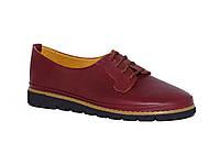 Женские легкие кожаные туфли на низком ходу (бордовые)