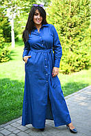 Длинное однотонное платье на пуговицах коттон джинс размеры 42-44 44-46 46-48 50-52 52-54