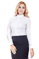 Рубашка белое Кружево, шифоновая рубашка, блуза для офиса, блузка с кружевом, дропшиппинг украина