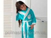 Детский халат для девочки Philippus бирюзовый с зайчиком 9-10 лет.