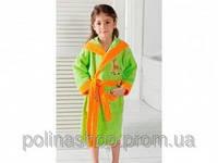 Детский халат для девочки Philippus светло-салатовый с жирафиком 9-10 лет.