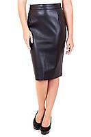 Юбка кожаная прямая миди, кожаная юбка, черная юбка из эко-кожи, юбка карандаш черная, дропшиппинг