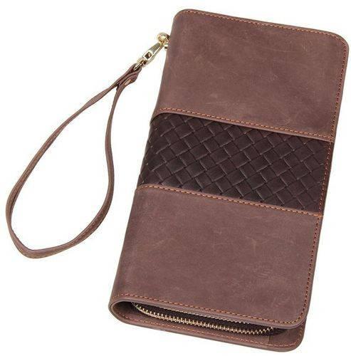 Красивый кожаный мужской клатч S.J.D. 8070R коричневый