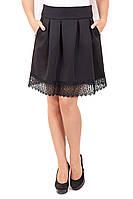 Юбка складка кружево внизу, юбка из дайвинга, юбка с кружевом, юбки оптом, дропшиппинг украина
