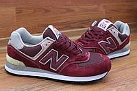 Стильные кроссовки New Balance 574 Vinous Red (Нью Бэлэнс)